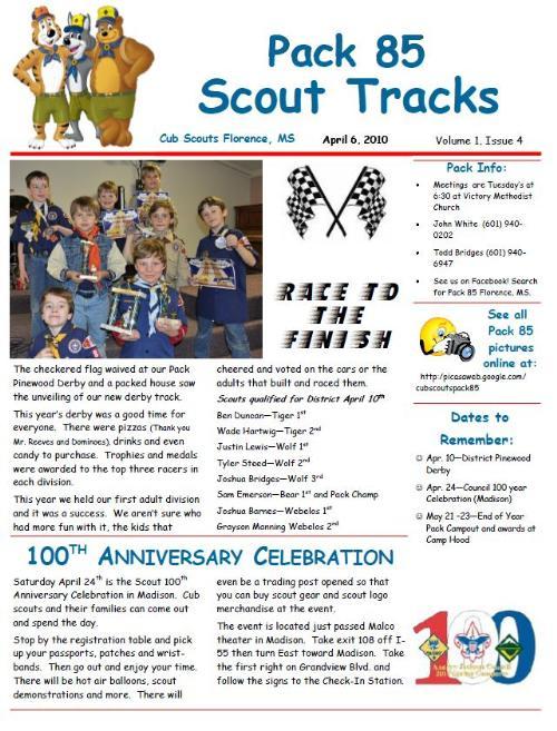 public newsletter cub scout pack 85 florence mississippi. Black Bedroom Furniture Sets. Home Design Ideas