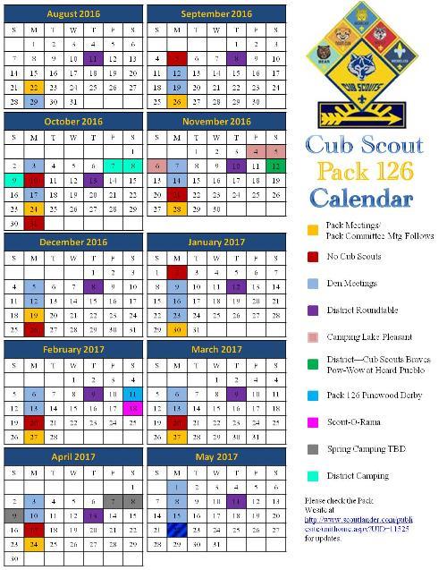 public calendar cub scout pack 126 peoria arizona. Black Bedroom Furniture Sets. Home Design Ideas